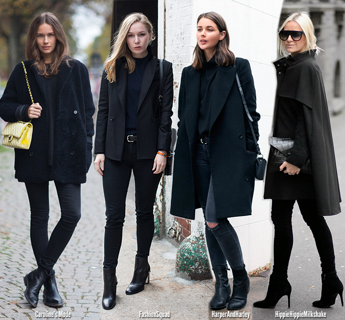 Inspiration | Winter Black   Coat - Blue is in Fashion this Year