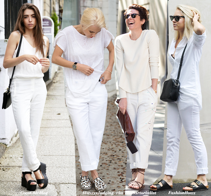 what to wear with white trousers