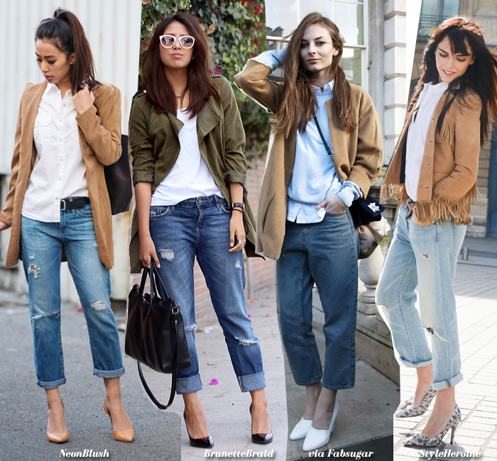 How to Wear: Boyfriend Jeans   Top   Jacket - Blue is in Fashion ...