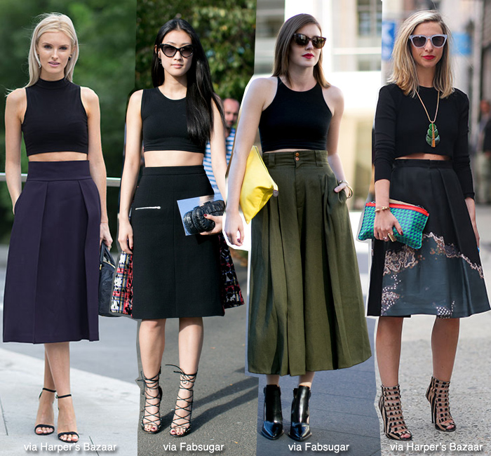How to Wear: Cropped Top   Midi Skirt | Blue is in Fashion this ...