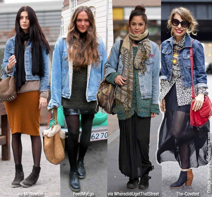 How To Wear: Denim Jacket   Skirt - Blue is in Fashion this Year