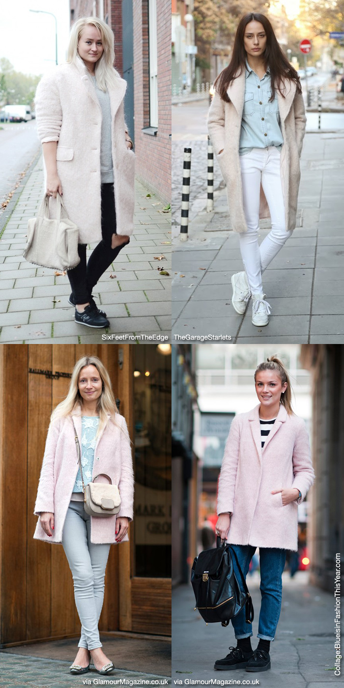 How to Wear: Light Pink Coat - Blue is in Fashion this Year