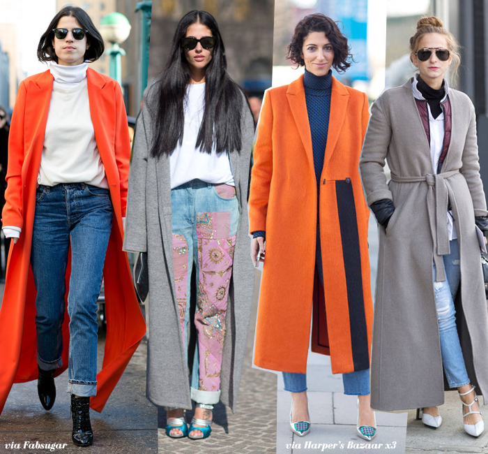 In Fashion: Extra Long Coats - Blue is in Fashion this Year