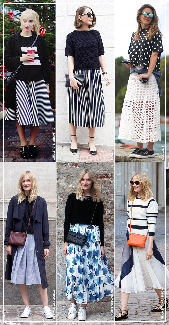 how to wear a line midi skirt top blue is in fashion