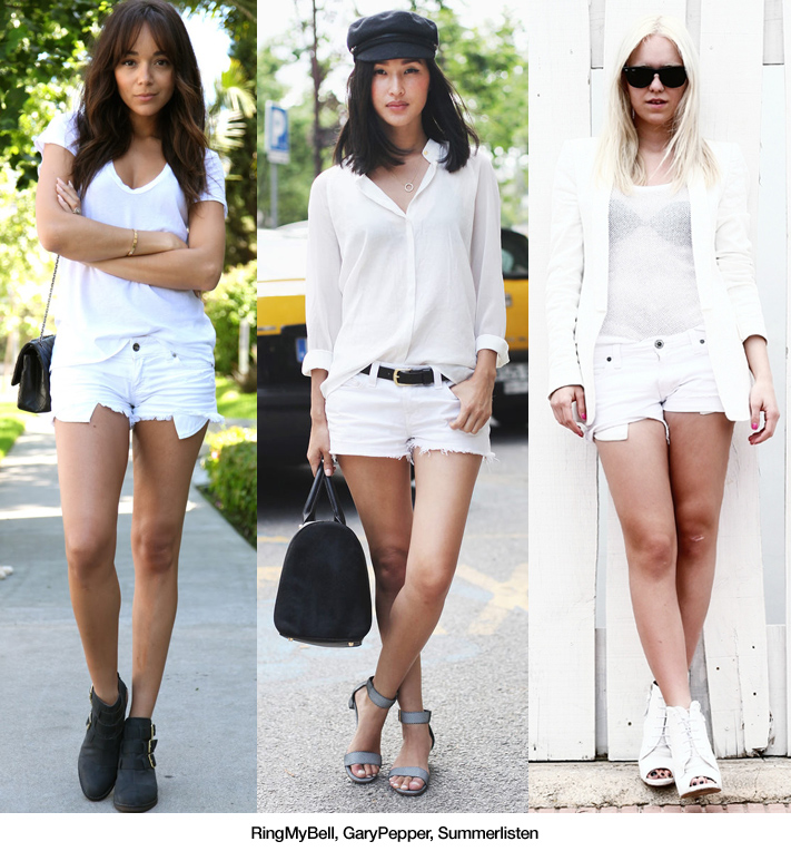 3x1: Total White with White Denim Shorts - Blue is in Fashion this ...