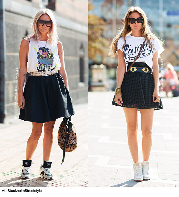 what shoes to wear with skater skirt