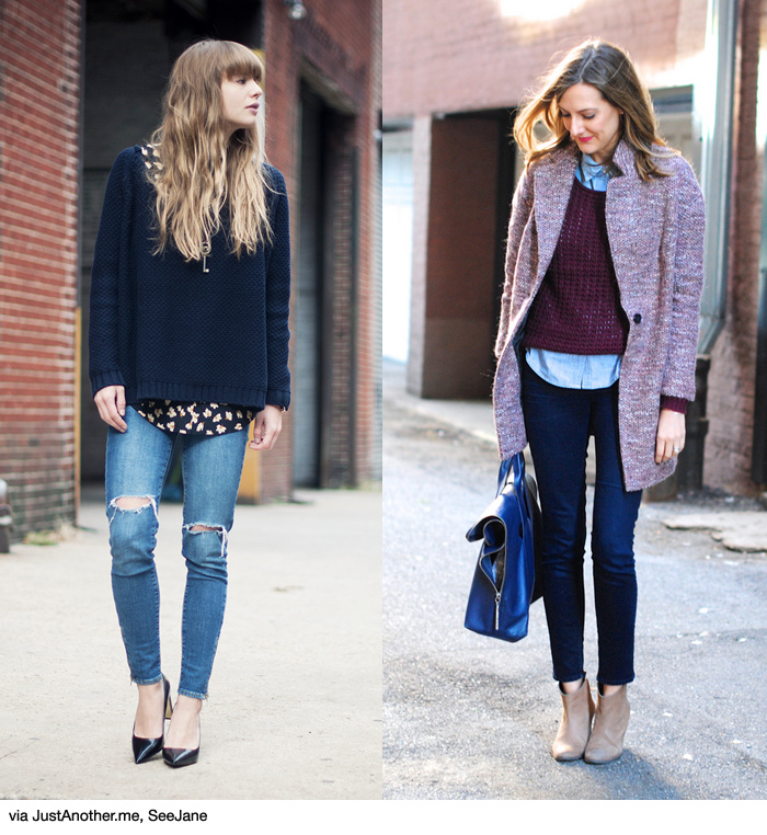 How to Wear: Shirt + Knit + Skinny Jeans