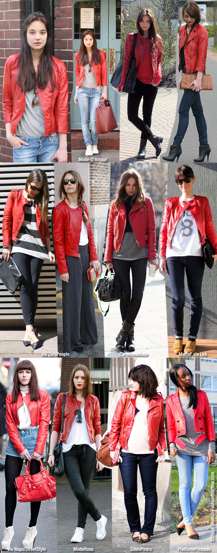 Inspiration/ How to Wear: Red Leather Jacket - Blue is in Fashion
