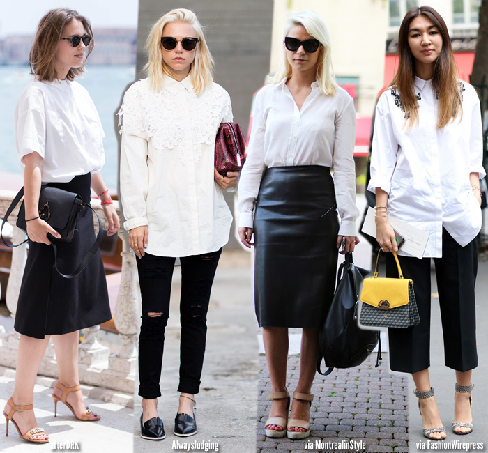 How to wear | White Shirt   Black - Blue is in Fashion this Year